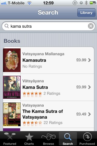 Screenshot of iBooks store showing copies of the Kama Sutra for purchase