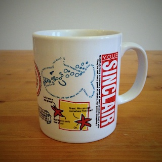 Your Sinclair mug, covered in printed nonsense