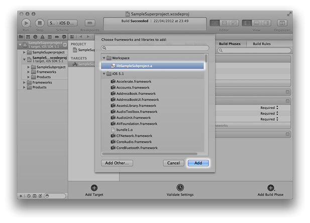Adding libSampleSubproject.a to the SampleSuperproject target