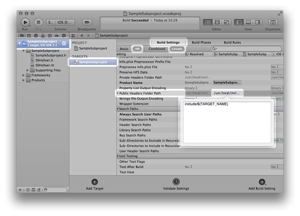 Xcode window showing the Public Header Folders Path of SampleSubproject being edited