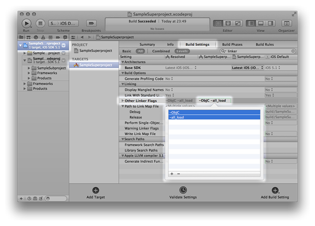 Setting the linker flags on the SampleSuperproject target
