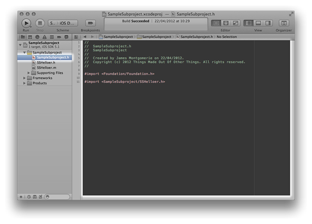Xcode window showing the global library header
