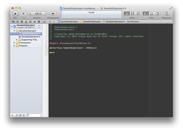 Xcode showing the new static library subproject